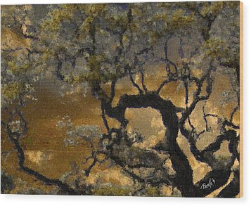 Treetop Sunset Wood Print