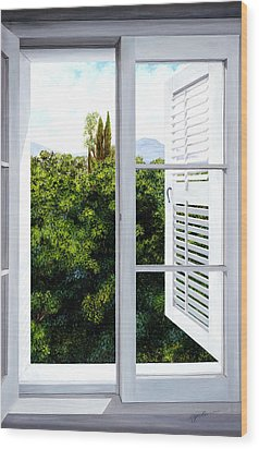 Window Above The Trees - Prints From Original Oil Painting Wood Print