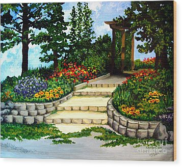 Wood Print featuring the painting Trellace Gardens by Elizabeth Robinette Tyndall
