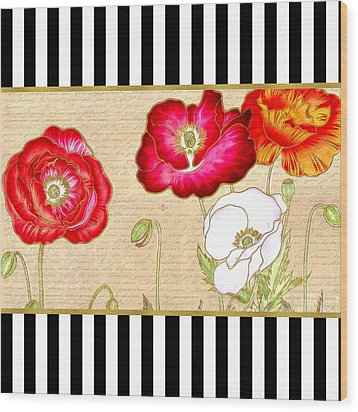 Wood Print featuring the digital art Trendy Red Poppy Floral Black And White Stripes by Tracie Kaska