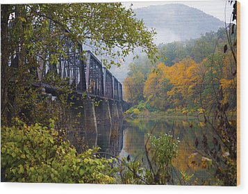 Trestle In Autumn Wood Print by Hugh Smith