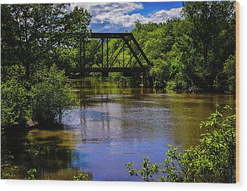 Wood Print featuring the photograph Trestle Over River by Mark Myhaver