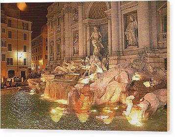 Trevi Fountain At Night Wood Print by Jim Kuhlmann