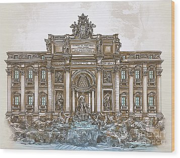 Wood Print featuring the painting  Trevi Fountain,rome  by Andrzej Szczerski
