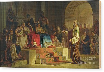 Trial Of The Apostle Paul Wood Print by Nikolai K Bodarevski