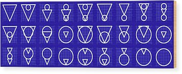 Triarcle -alphabet- Grid Blueprint Wood Print by Coded Images