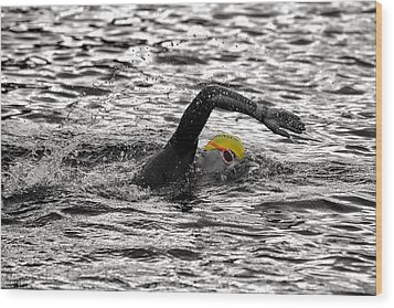 Triathlon Swimmer Wood Print