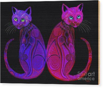 Wood Print featuring the digital art Tribal Cats by Nick Gustafson