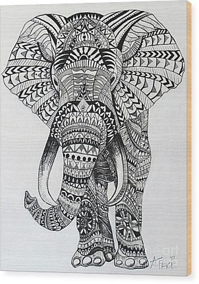 Wood Print featuring the painting Tribal Elephant by Ashley Price