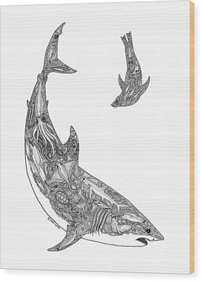 Tribal Great White And Sea Lion Wood Print by Carol Lynne