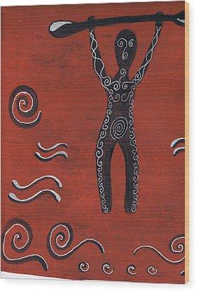 Tribal Paddler Wood Print by Kristen Beck