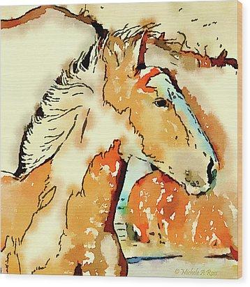 Tribal Pony Wood Print by Michele Ross