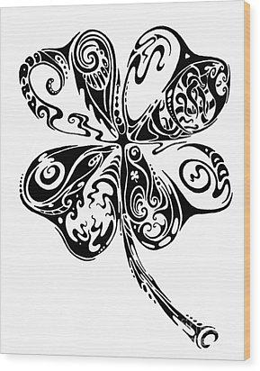 Tribal Shamrock Wood Print by John Benko