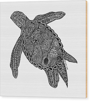 Tribal Turtle I Wood Print by Carol Lynne