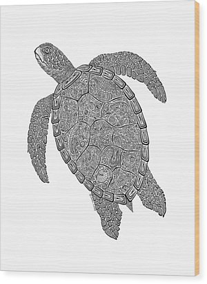 Tribal Turtle II Wood Print by Carol Lynne