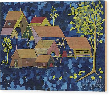 Wood Print featuring the painting Tribal Village by Vilas Malankar