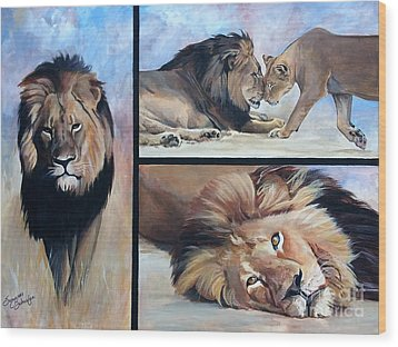 Tribute To Cecil The African Lion Wood Print by Suzanne Schaefer