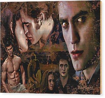 Tribute To Eclipse Pattinson Stewart Lautner Wood Print by Alex Martoni