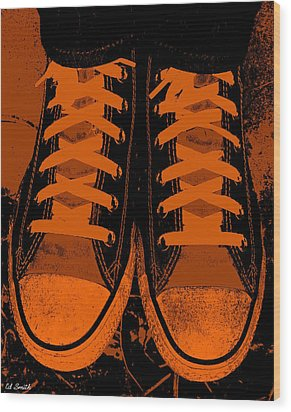 Trick Or Treat Feet Wood Print by Ed Smith