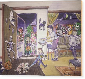Trick Or Treat On Exeter Street Wood Print