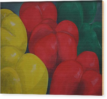 Tricolored Peppers Wood Print by Paul Amaranto