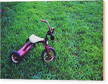 Tricycle Wood Print by Beverly Hammond