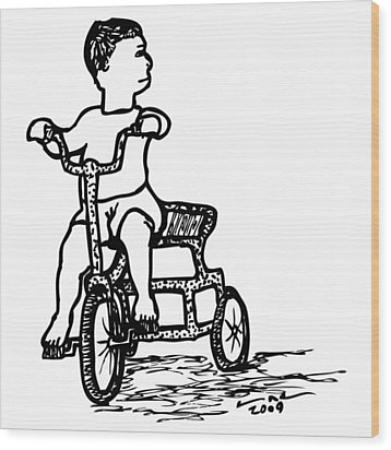Tricycle Wood Print by Karl Addison
