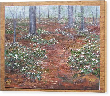 Trilliums After The Rain Wood Print