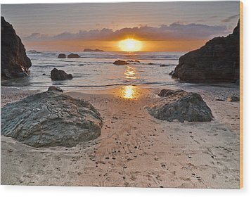 Trinidad State Beach Sunset Wood Print
