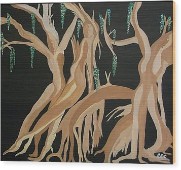 Wood Print featuring the painting Trinity   The Banyan Tree by Carolyn Cable
