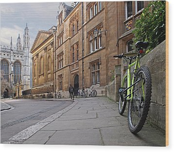 Wood Print featuring the photograph Trinity Lane Clare College Cambridge Great Hall by Gill Billington