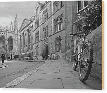 Wood Print featuring the photograph Trinity Lane Clare College Great Hall In Black And White by Gill Billington