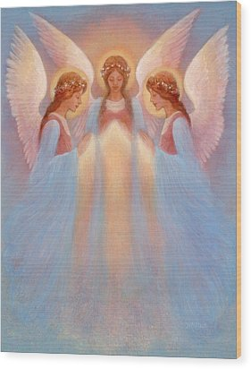 Trinity Of Angels Wood Print by Jack Shalatain