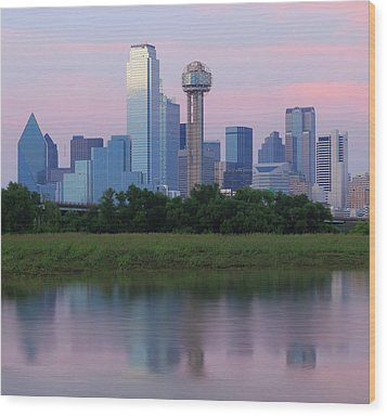 Trinity River With Skyline, Dallas Wood Print by Michael Fitzgerald Fine Art Photography of Texas