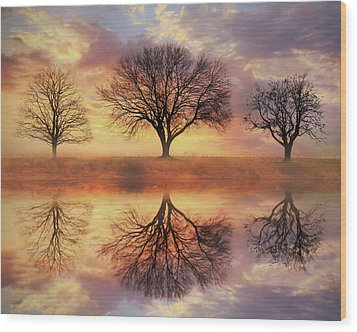 Wood Print featuring the mixed media Trio Of Trees by Lori Deiter