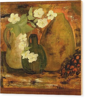 Wood Print featuring the painting Trio Vases by Kathy Sheeran