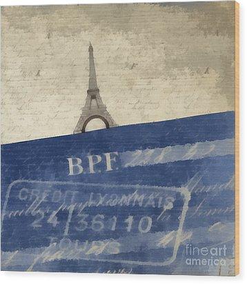 Trip To Paris Square Pillow Size Wood Print by Edward Fielding