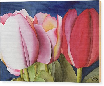 Triple Tulips Wood Print
