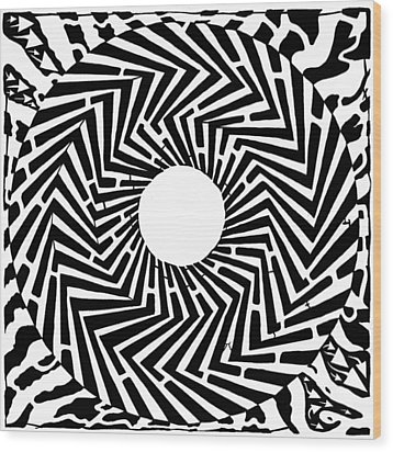 Trippy Optical Illusion Swirly Maze  Wood Print by Yonatan Frimer Maze Artist