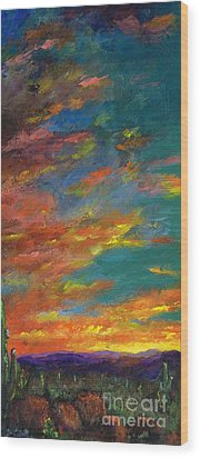 Triptych 1 Desert Sunset Wood Print by Frances Marino