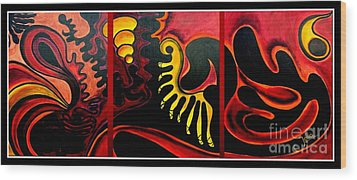 Wood Print featuring the painting Triptych Abstract Vision by Jolanta Anna Karolska