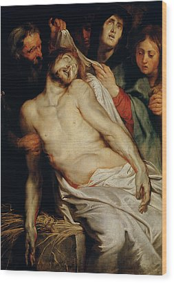 Triptych Of Christ On The Straw Wood Print by Rubens