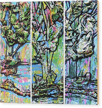 Wood Print featuring the painting Triptych Of Three Trees By A Brook by Genevieve Esson