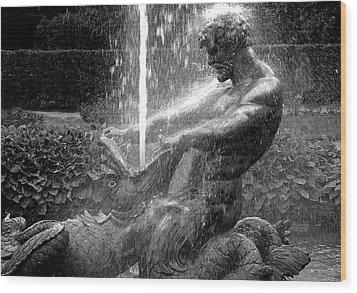 Triton Fountain Wood Print by Alex Galkin