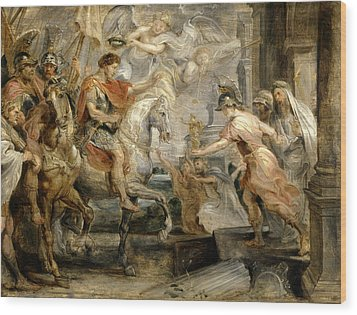 Triumphant Entry Of Constantine Into Rome Wood Print by Peter Paul Rubens