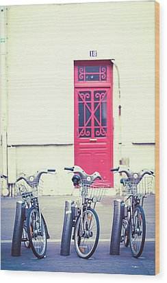 Wood Print featuring the photograph Trois - Three Bicycles In Paris by Melanie Alexandra Price