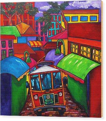 Trolley Wood Print by Patti Schermerhorn
