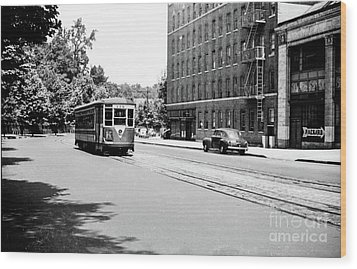 Wood Print featuring the photograph Trolley With Packard Building  by Cole Thompson