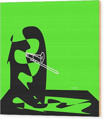 Trombone In Green Wood Print by David Bridburg