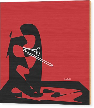 Trombone In Red Wood Print by David Bridburg